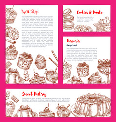 templates for bakery shop cakes dessers vector image