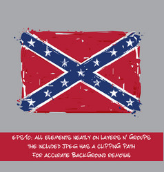 confederate rebel flag flat - artistic brush vector image vector image