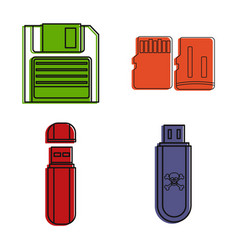 flash disk icon set color outline style vector image
