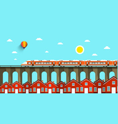 train on bridge abstract landscape city with vector image