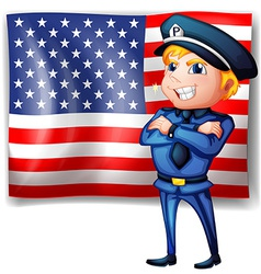 A police near the USA flag vector