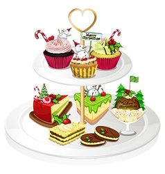 A tray with cupcakes vector