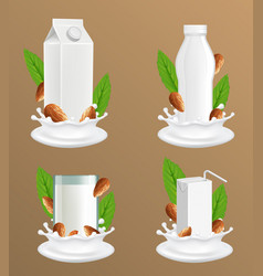 almond milk package realistic mockup set vector image