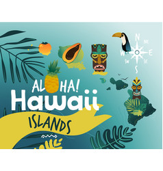 aloha hawaii - tropical poster design for summer vector image