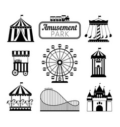 Amusement park black icons vector