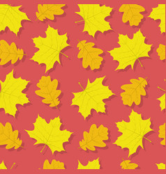 autumn seamless pattern with oak and maple leaves vector image
