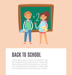 back to school with schoolboy and schoolgirl vector image