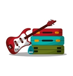 Baggage and guitar to travel design vector