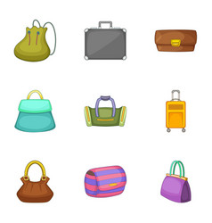 Bags for all occasions icons set cartoon style vector