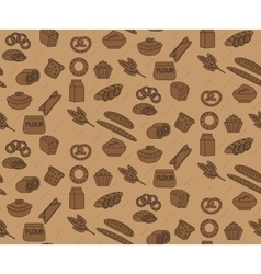 Bakery seamless pattern Line outline doodle vector