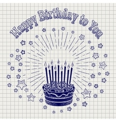 Ball pen sketch birthday cake vector image