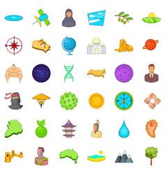 Big world icons set cartoon style vector