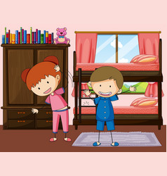 Boy and girl exercise in bedroom vector