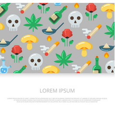 bright drugs and skull flat icons vector image