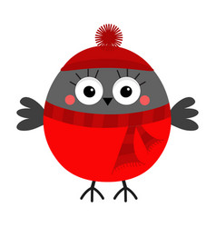 Bullfinch winter red feather bird in hat and vector