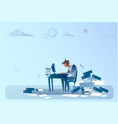 Business man working on computer overloaded vector