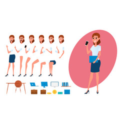 Businesswoman character creation set for animation vector