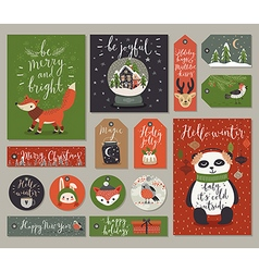 Christmas cards and tags set hand drawn style vector image