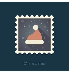 Christmas Hat flat stamp vector