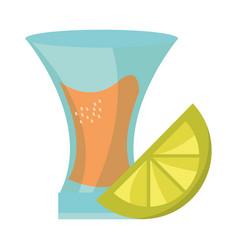 cinco de mayo tequila shot with lemon slice vector image