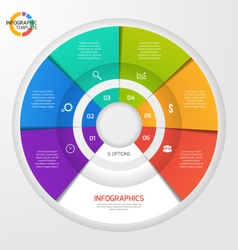 circle infographic template 6 options vector image