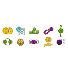 Coin object icon set color outline style vector