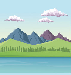 Colorful background with daytime mountain valley vector