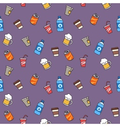 Colorful hand drawn drinks seamless pattern vector