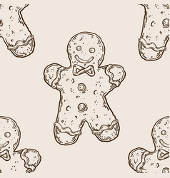 cookie man seamless pattern engraving vector image