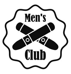 Cross cigar men club logo simple style vector