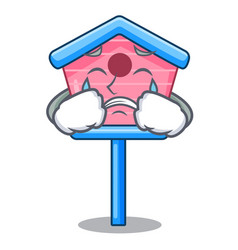 Crying wooden bird house on a pole cartoon vector