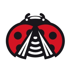 Cute little red spotted cartoon ladybug icon vector