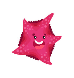 cute smiling cartoon starfish character vector image