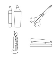 Design of office and supply icon set of vector