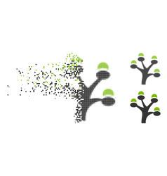 Disintegrating dotted halftone money tree icon vector