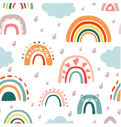 Doodle rainbow with rain seamless pattern vector