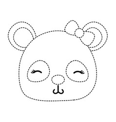 Dotted shape shy panda head female wild animal vector