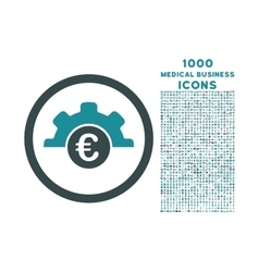 Euro Technology Rounded Icon with 1000 Bonus Icons vector image