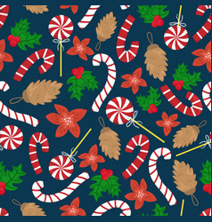 flat cartoon new year seamless pattern vector image
