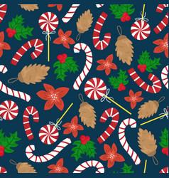 flat cartoon new year seamless pattern vector image
