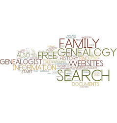 free genealogy search text background word cloud vector image