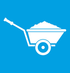 Garden wheelbarrow icon white vector