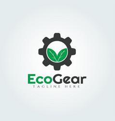 Gear and leaf logo design vector