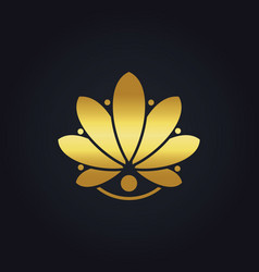 Gold beauty flower salon spa abstract logo vector