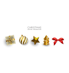 gold christmas set 3d holiday object isolated vector image