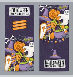 halloween banner set for web design invitation vector image