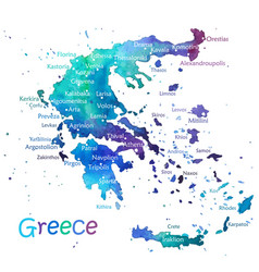 hand drawn watercolor map greece vector image
