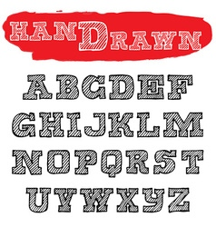Handwriting striped Fonts Hand Drawn Alphabets vector image