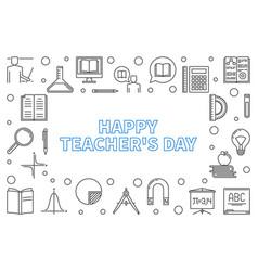 happy teachers day concept outline vector image