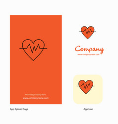 Heart beat company logo app icon and splash page vector